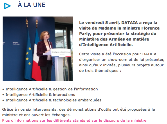 Newsletter DATAIA Avril